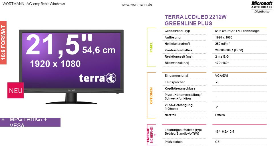 21,5 54,6 cm 1920 x 1080 TERRA LCD/LED 2212W GREENLINE PLUS