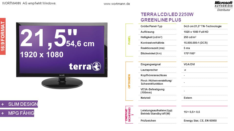 21,5 54,6 cm 1920 x 1080 TERRA LCD/LED 2250W GREENLINE PLUS