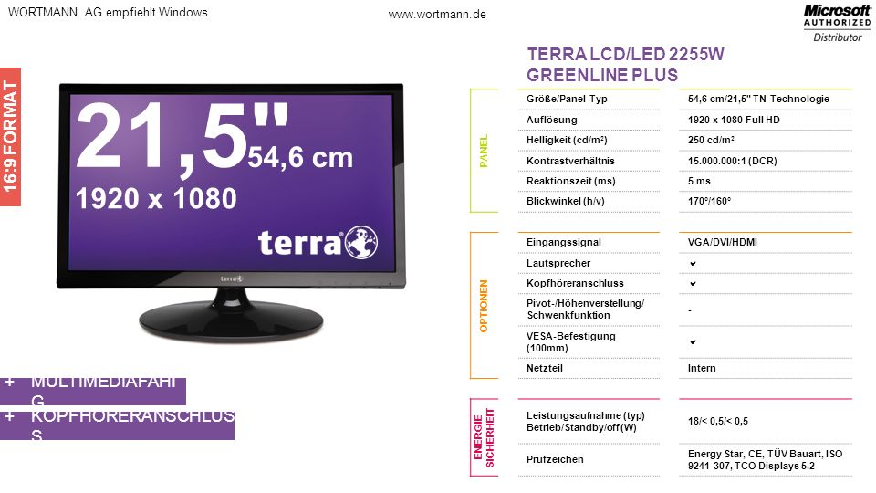 21,5 54,6 cm 1920 x 1080 TERRA LCD/LED 2255W GREENLINE PLUS