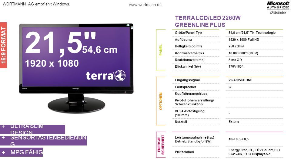 21,5 54,6 cm 1920 x 1080 TERRA LCD/LED 2260W GREENLINE PLUS