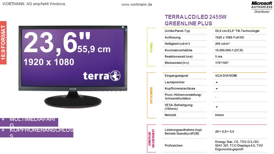 23,6 55,9 cm 1920 x 1080 TERRA LCD/LED 2455W GREENLINE PLUS