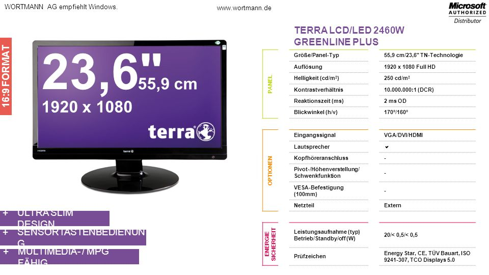 23,6 55,9 cm 1920 x 1080 TERRA LCD/LED 2460W GREENLINE PLUS