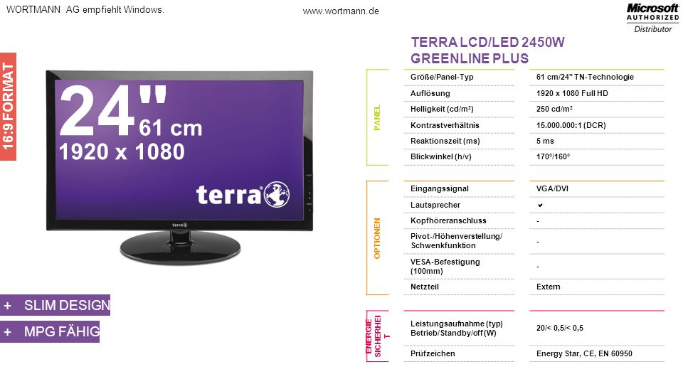 24 61 cm 1920 x 1080 TERRA LCD/LED 2450W GREENLINE PLUS 16:9 FORMAT