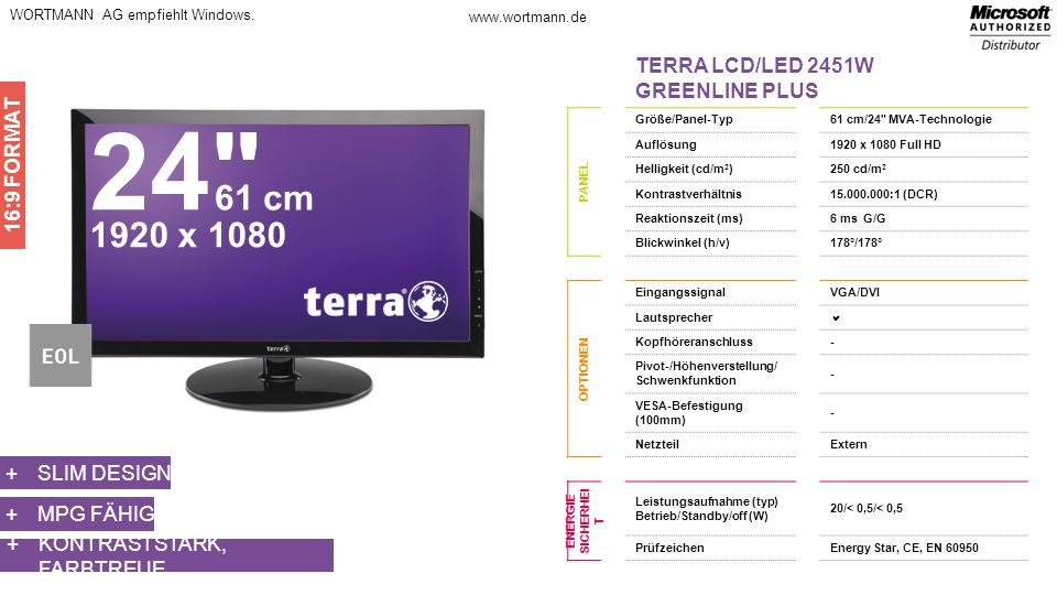 24 61 cm 1920 x 1080 TERRA LCD/LED 2451W GREENLINE PLUS 16:9 FORMAT