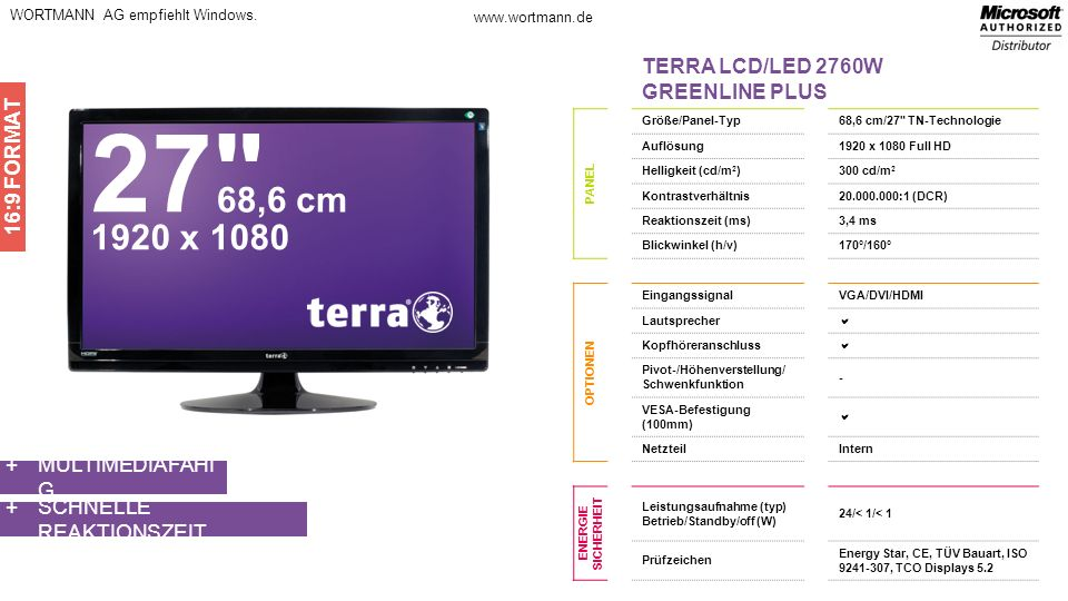 27 68,6 cm 1920 x 1080 TERRA LCD/LED 2760W GREENLINE PLUS 16:9 FORMAT