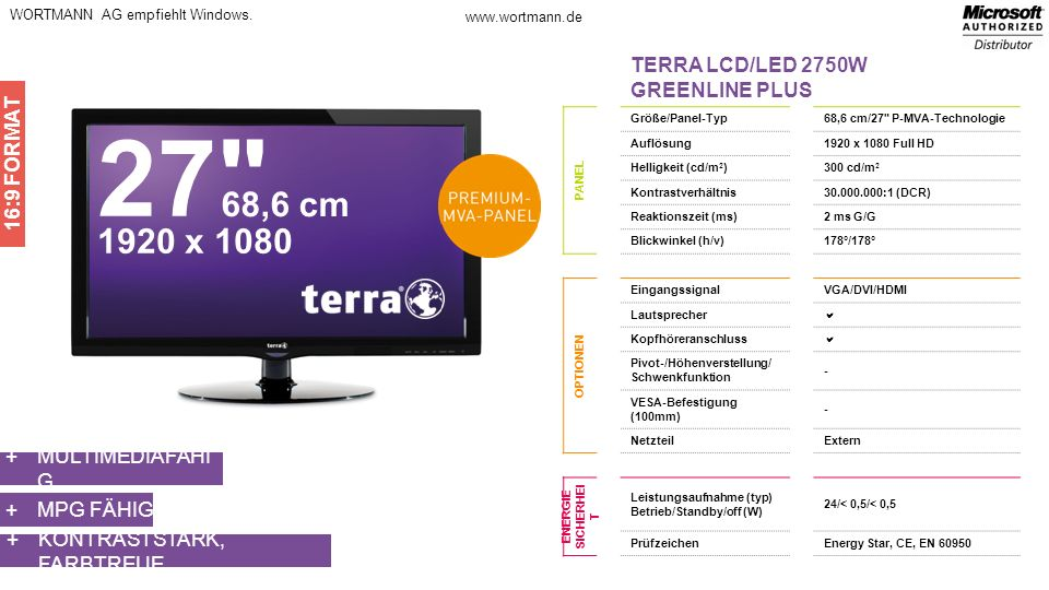 27 68,6 cm 1920 x 1080 TERRA LCD/LED 2750W GREENLINE PLUS 16:9 FORMAT
