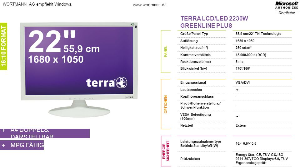 22 55,9 cm 1680 x 1050 TERRA LCD/LED 2230W GREENLINE PLUS