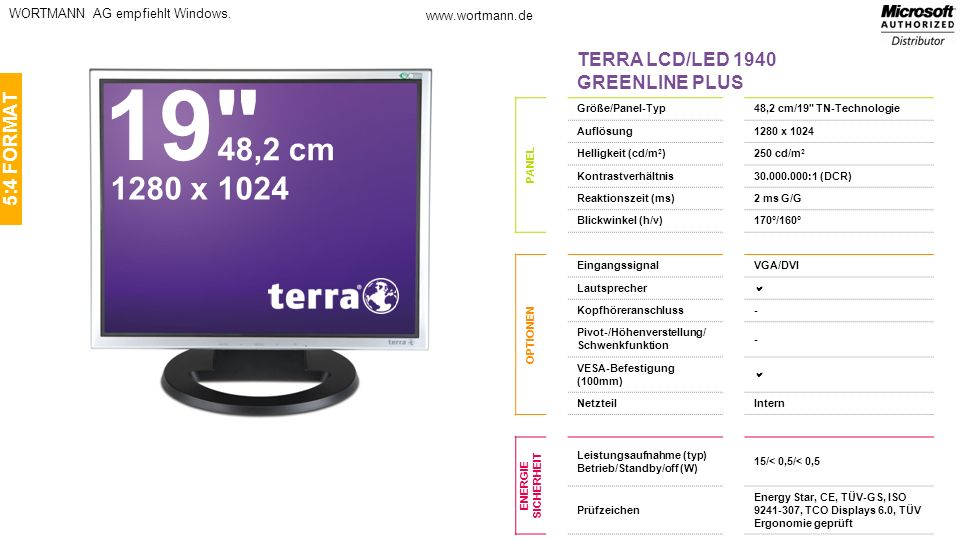 19 48,2 cm 1280 x 1024 TERRA LCD/LED 1940 GREENLINE PLUS 5:4 FORMAT