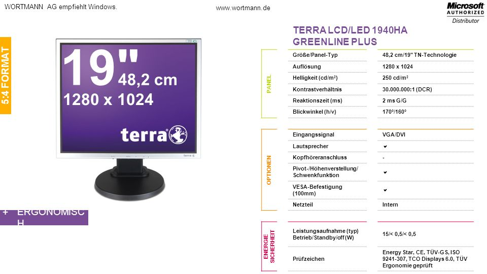 19 48,2 cm 1280 x 1024 TERRA LCD/LED 1940HA GREENLINE PLUS 5:4 FORMAT