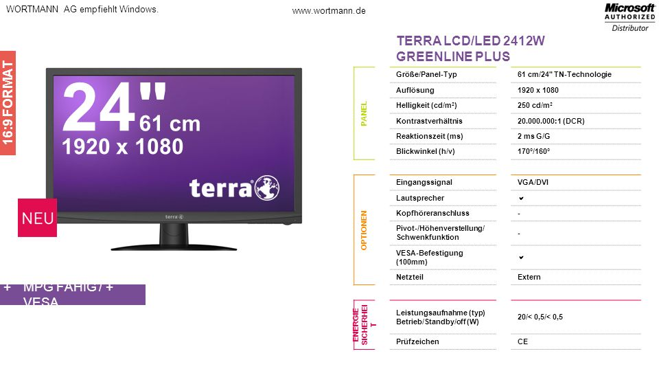 24 61 cm 1920 x 1080 TERRA LCD/LED 2412W GREENLINE PLUS 16:9 FORMAT