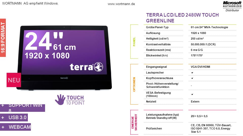 24 61 cm 1920 x 1080 TERRA LCD/LED 2480W TOUCH GREENLINE 16:9 FORMAT