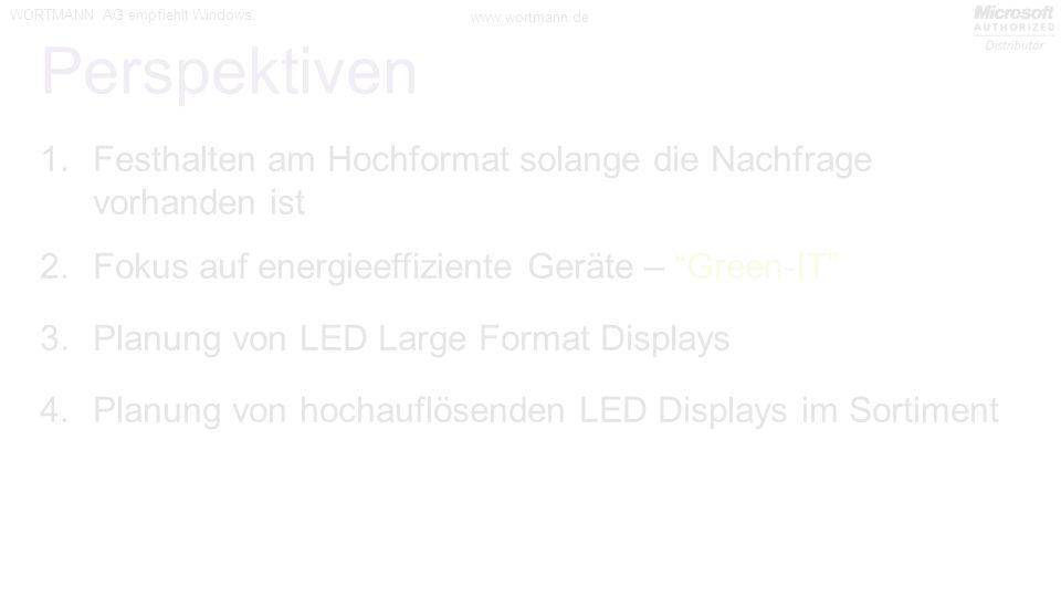 Perspektiven Festhalten am Hochformat solange die Nachfrage vorhanden ist. Fokus auf energieeffiziente Geräte – Green-IT