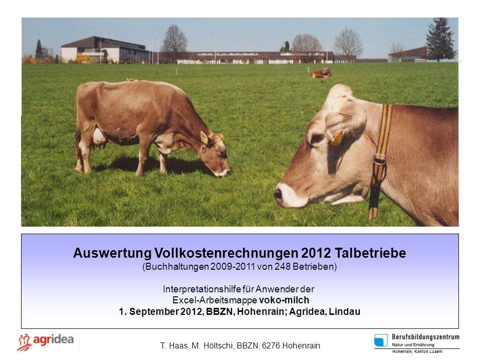Auswertung Vollkostenrechnungen 2012 Talbetriebe