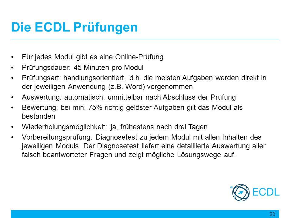 Die ECDL Prüfungen Für jedes Modul gibt es eine Online-Prüfung
