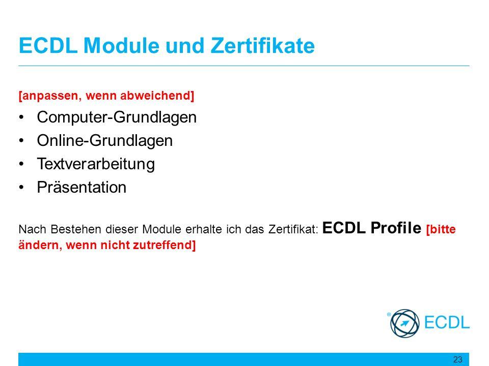 ECDL Module und Zertifikate
