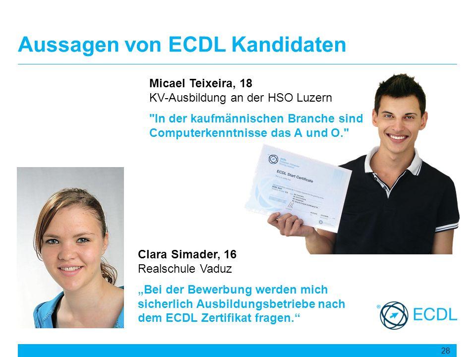 Aussagen von ECDL Kandidaten