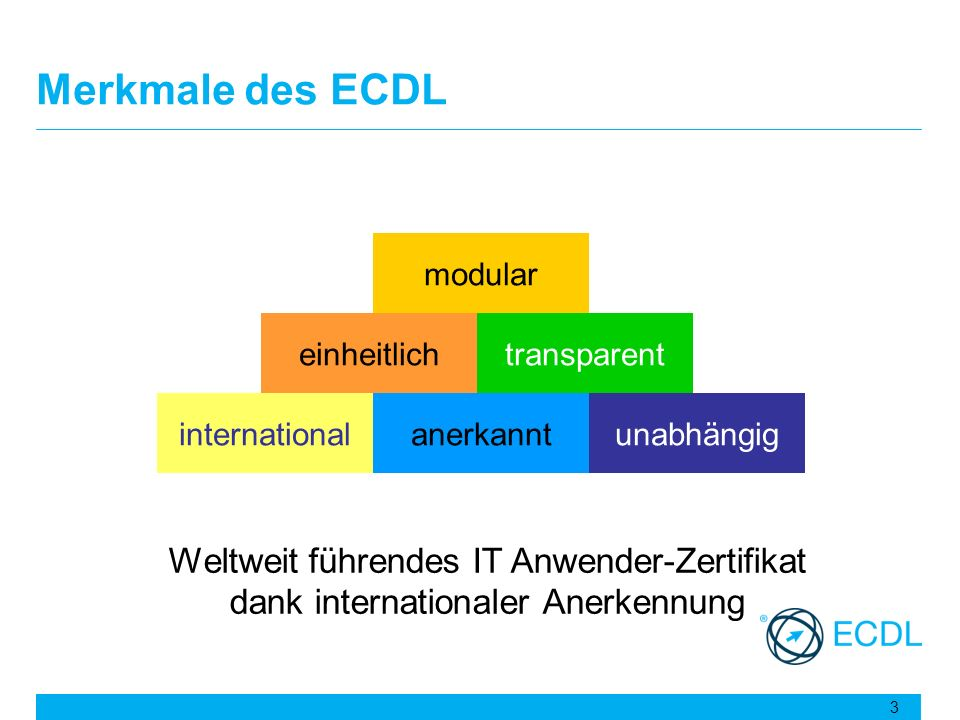 Merkmale des ECDL modular. einheitlich. transparent. international. anerkannt. unabhängig.
