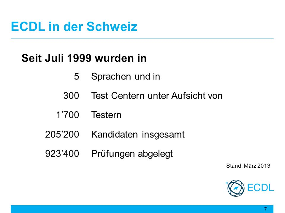 ECDL in der Schweiz Seit Juli 1999 wurden in 5 Sprachen und in