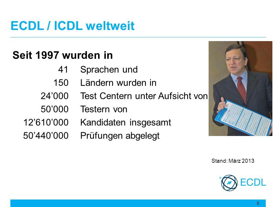 ECDL / ICDL weltweit Seit 1997 wurden in 41 Sprachen und