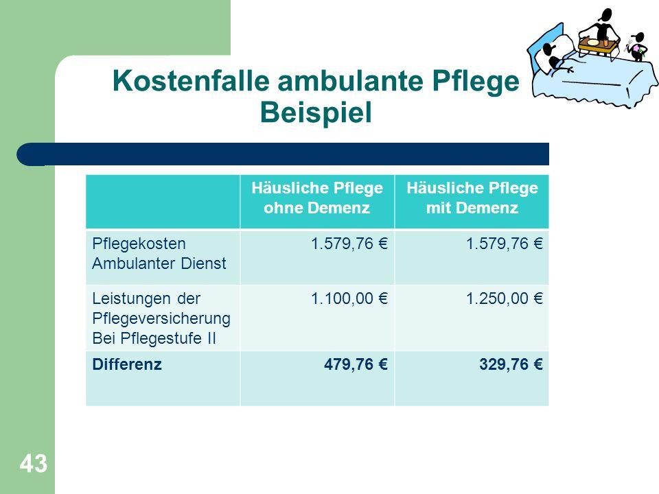 Kostenfalle ambulante Pflege Beispiel