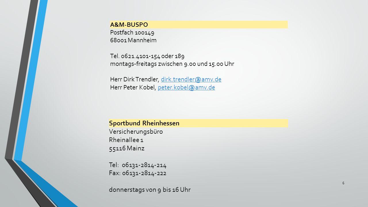 Sportbund Rheinhessen Versicherungsbüro Rheinallee 1 55116 Mainz