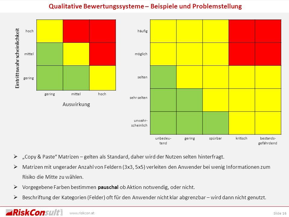 Qualitative Bewertungssysteme – Beispiele und Problemstellung