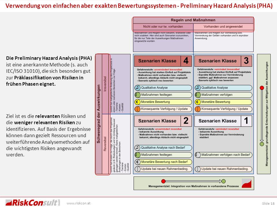 Verwendung von einfachen aber exakten Bewertungssystemen - Preliminary Hazard Analysis (PHA)