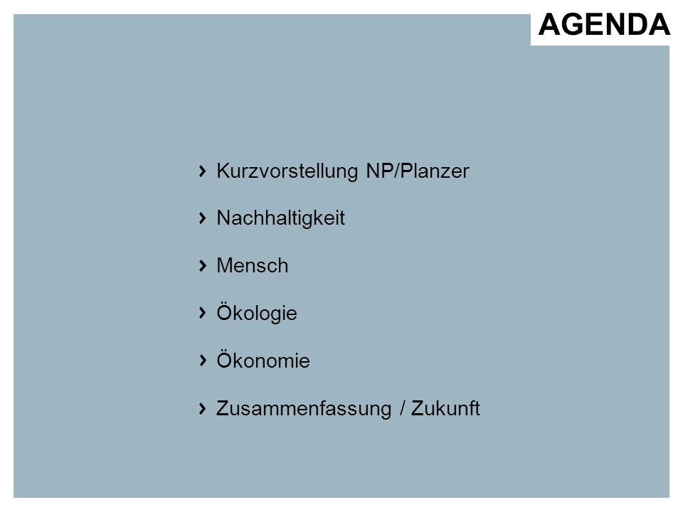 AGENDA Kurzvorstellung NP/Planzer Nachhaltigkeit Mensch Ökologie