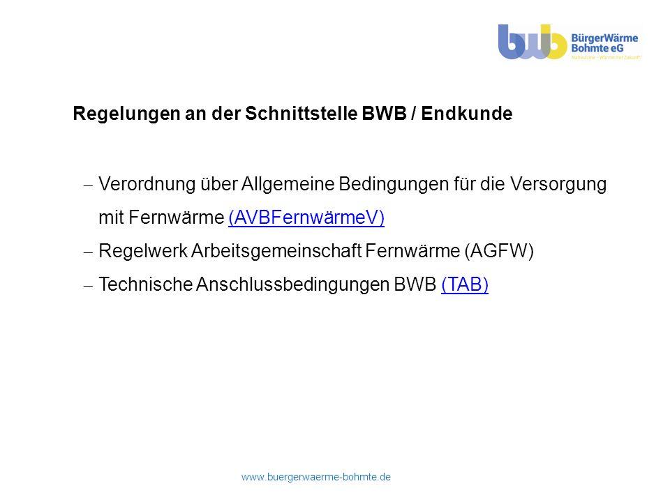 Regelungen an der Schnittstelle BWB / Endkunde