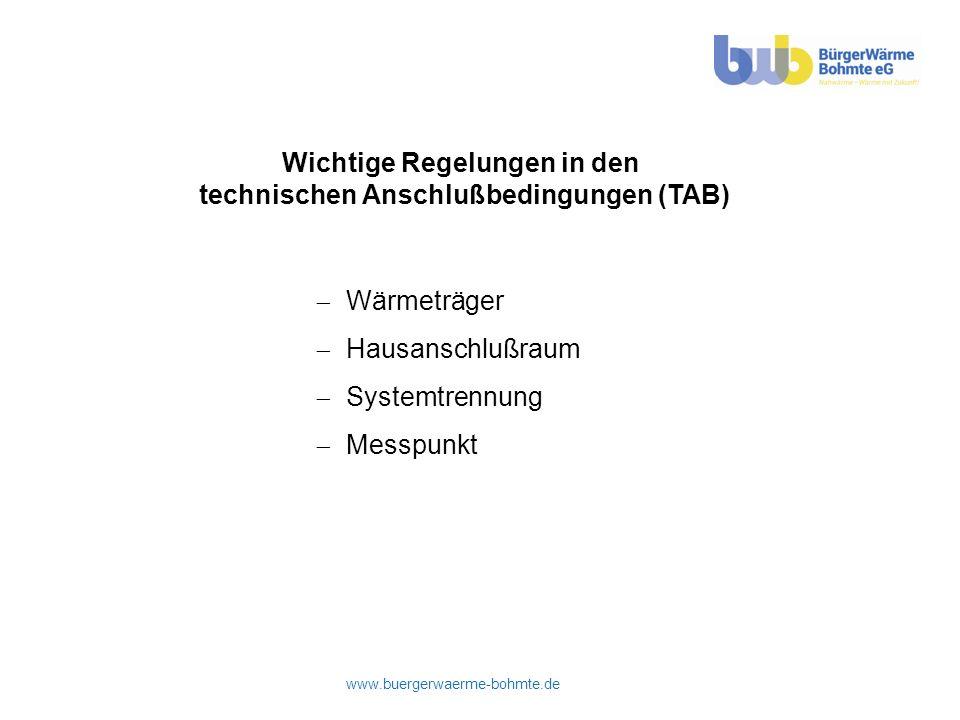 Wichtige Regelungen in den technischen Anschlußbedingungen (TAB)