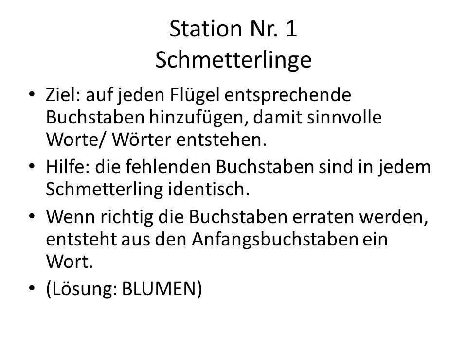 Station Nr. 1 Schmetterlinge