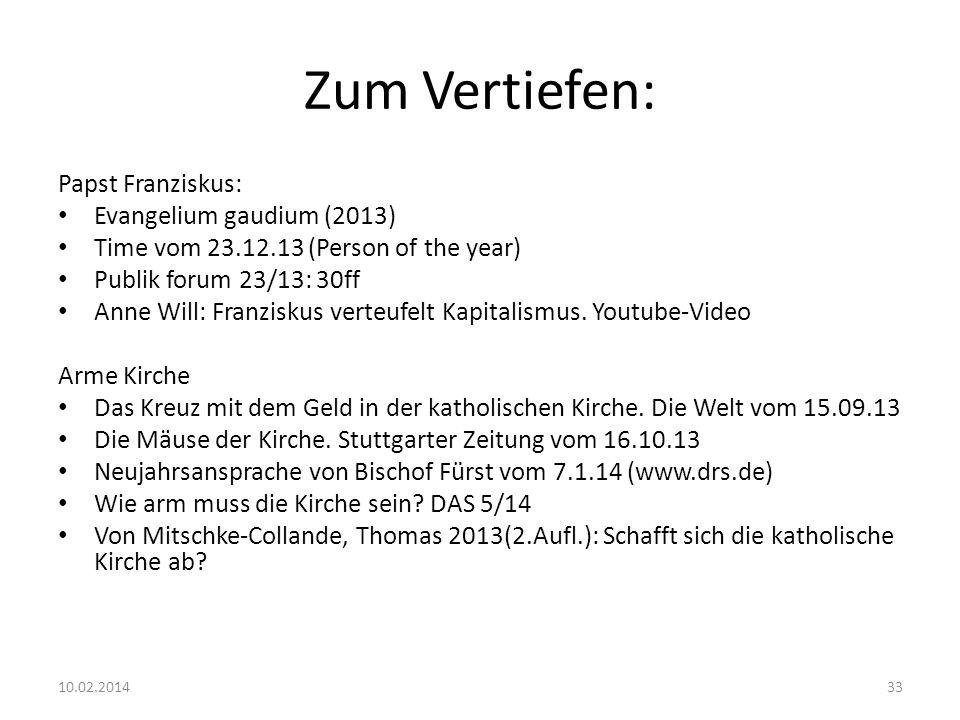 Zum Vertiefen: Papst Franziskus: Evangelium gaudium (2013)