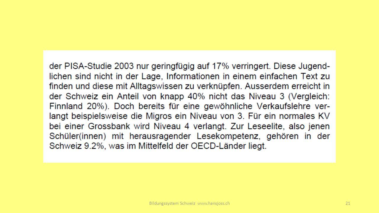 Bildungssystem Schweiz www.hansjoss.ch