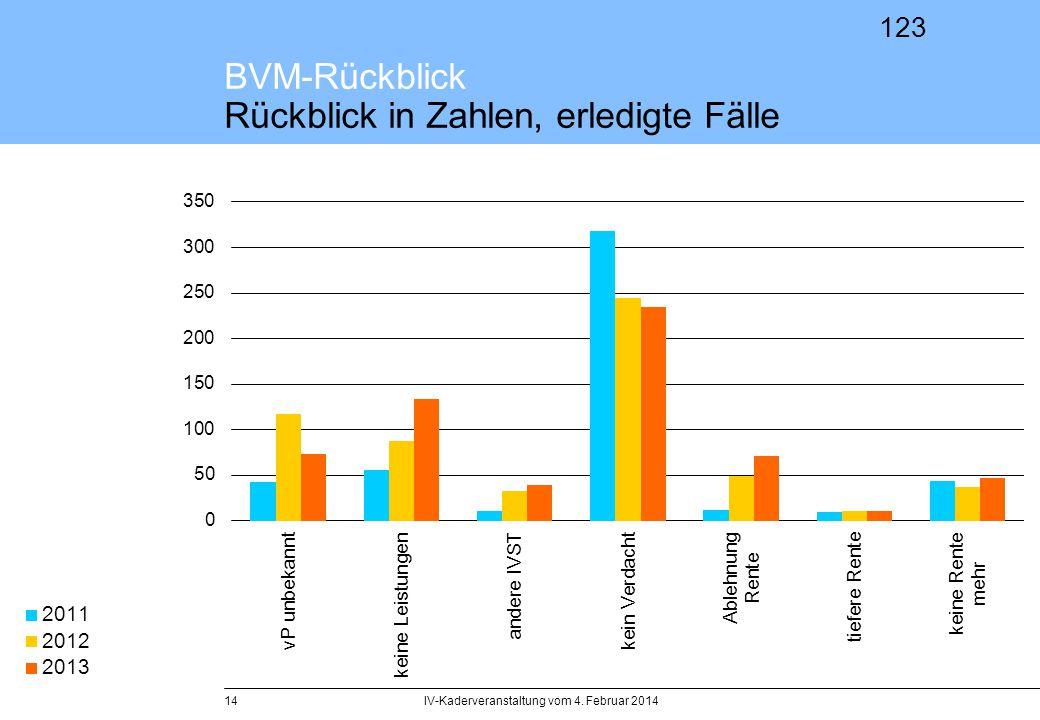 BVM-Rückblick Rückblick in Zahlen, erledigte Fälle