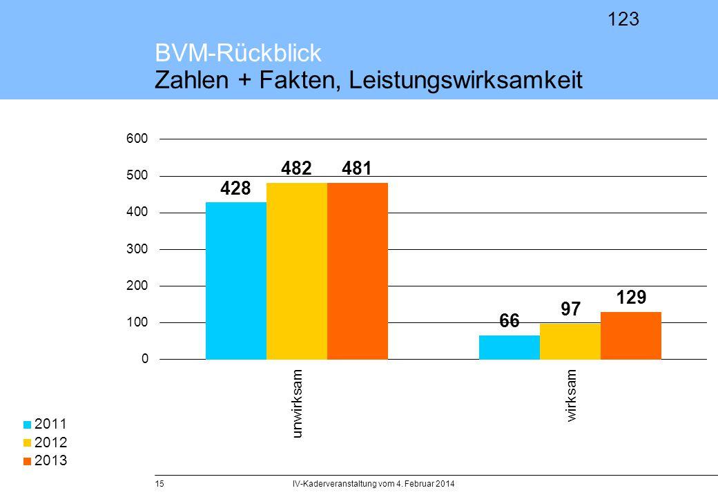BVM-Rückblick Zahlen + Fakten, Leistungswirksamkeit
