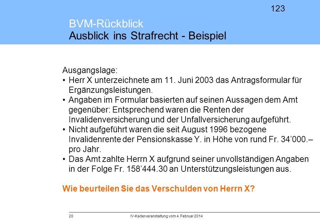 BVM-Rückblick Ausblick ins Strafrecht - Beispiel