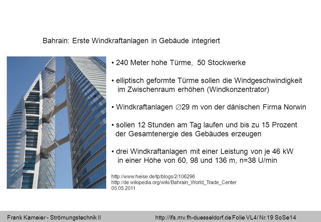 Bahrain: Erste Windkraftanlagen in Gebäude integriert