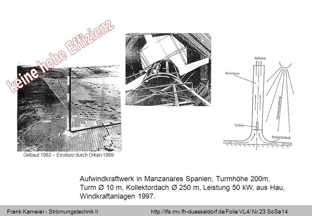 keine hohe Effizienz Gebaut 1982 – Einsturz durch Orkan 1989.