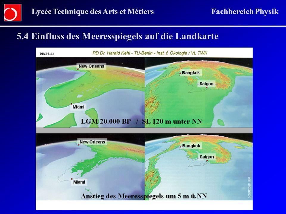 5.4 Einfluss des Meeresspiegels auf die Landkarte