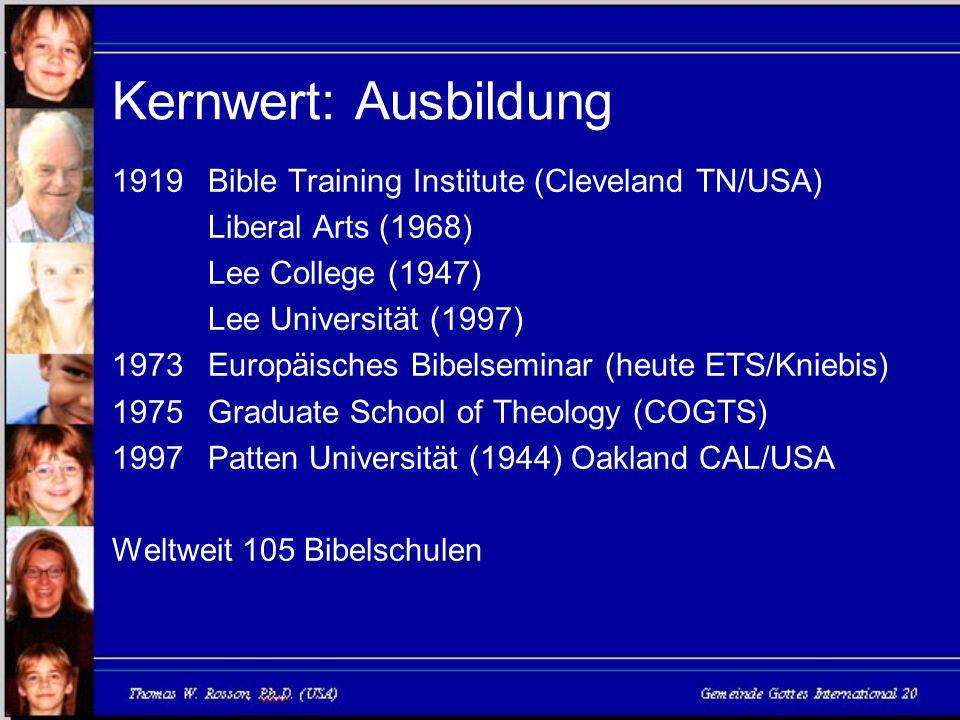 Kernwert: Ausbildung 1919 Bible Training Institute (Cleveland TN/USA)