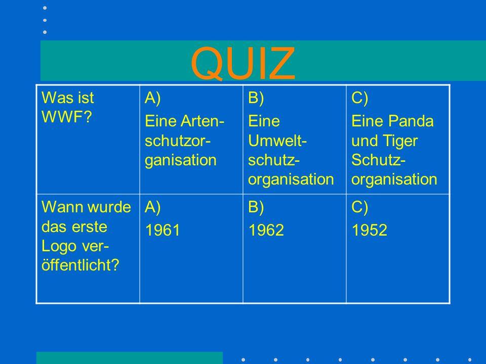 QUIZ Was ist WWF A) Eine Arten-schutzor-ganisation B)