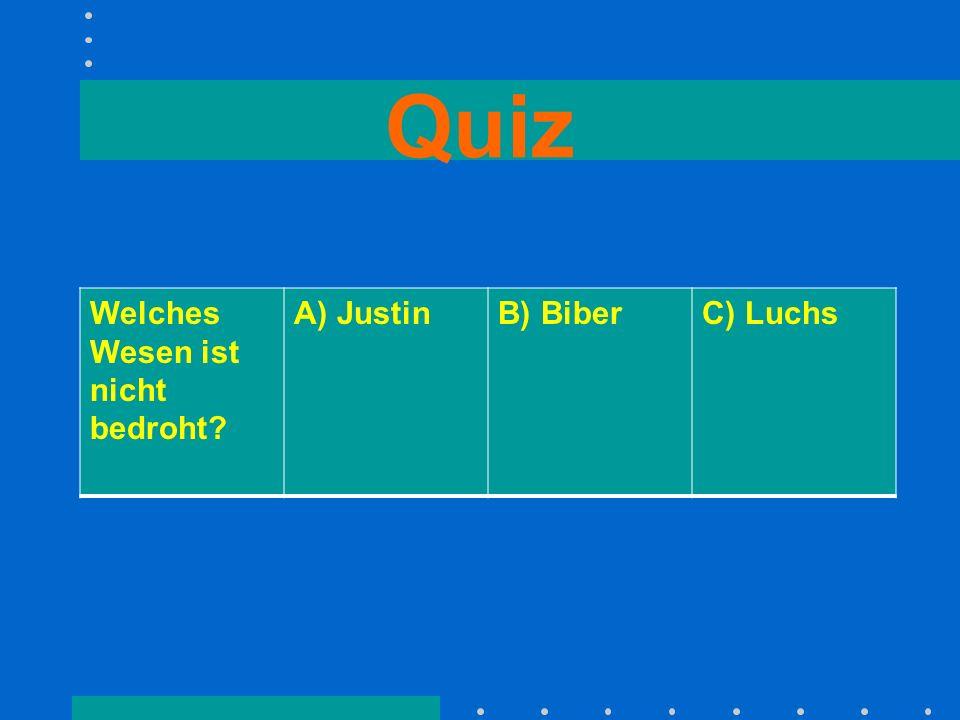 Quiz Welches Wesen ist nicht bedroht A) Justin B) Biber C) Luchs
