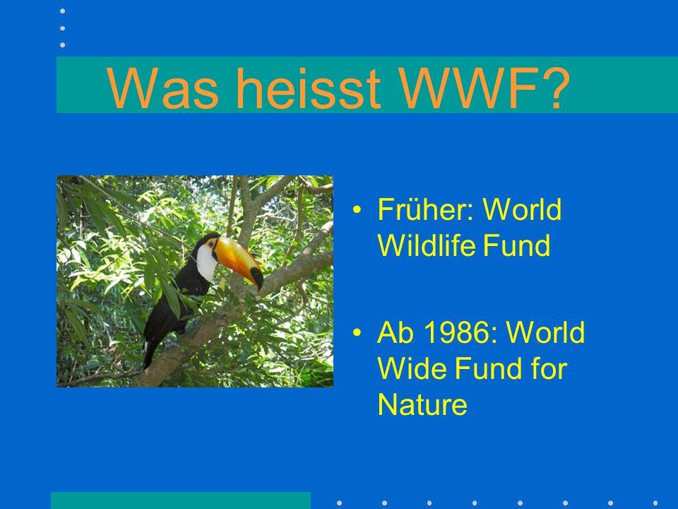 Was heisst WWF Früher: World Wildlife Fund