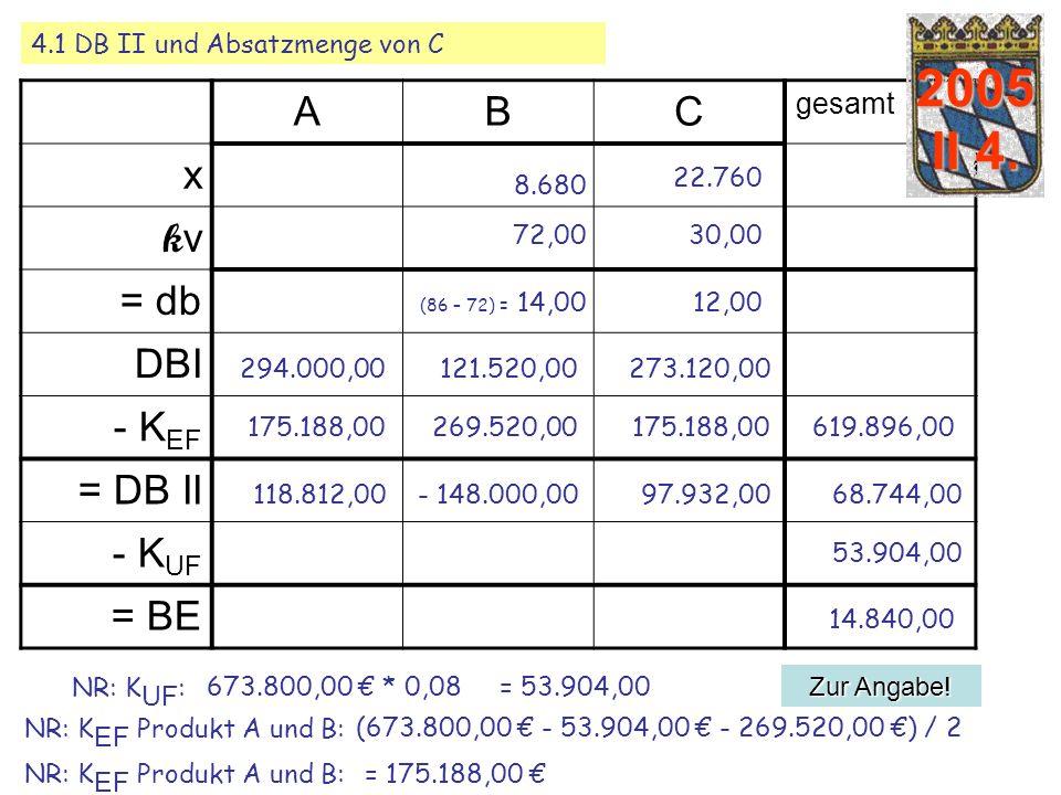 2005 II 4. A B C x kv = db DBI KEF = DB II - KUF = BE gesamt