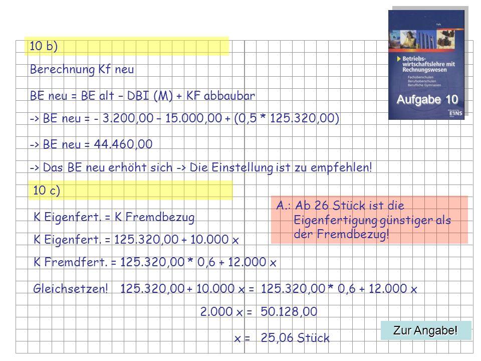 10 b) Berechnung Kf neu. BE neu = BE alt – DBI (M) + KF abbaubar. Aufgabe 10. -> BE neu = - 3.200,00 – 15.000,00 + (0,5 * 125.320,00)