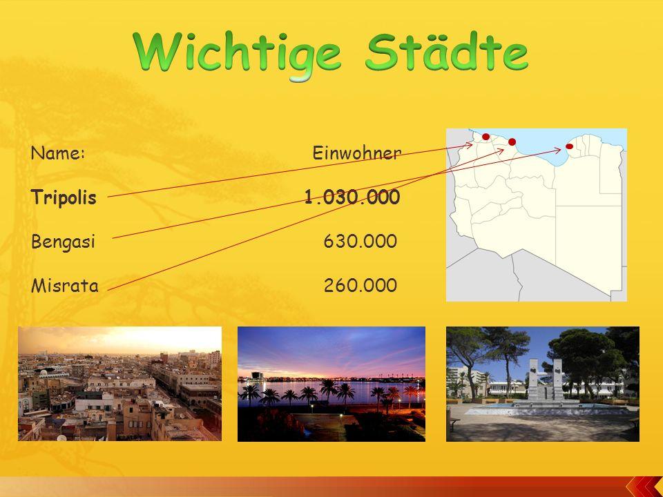 Wichtige Städte Name: Einwohner Tripolis 1.030.000 Bengasi 630.000