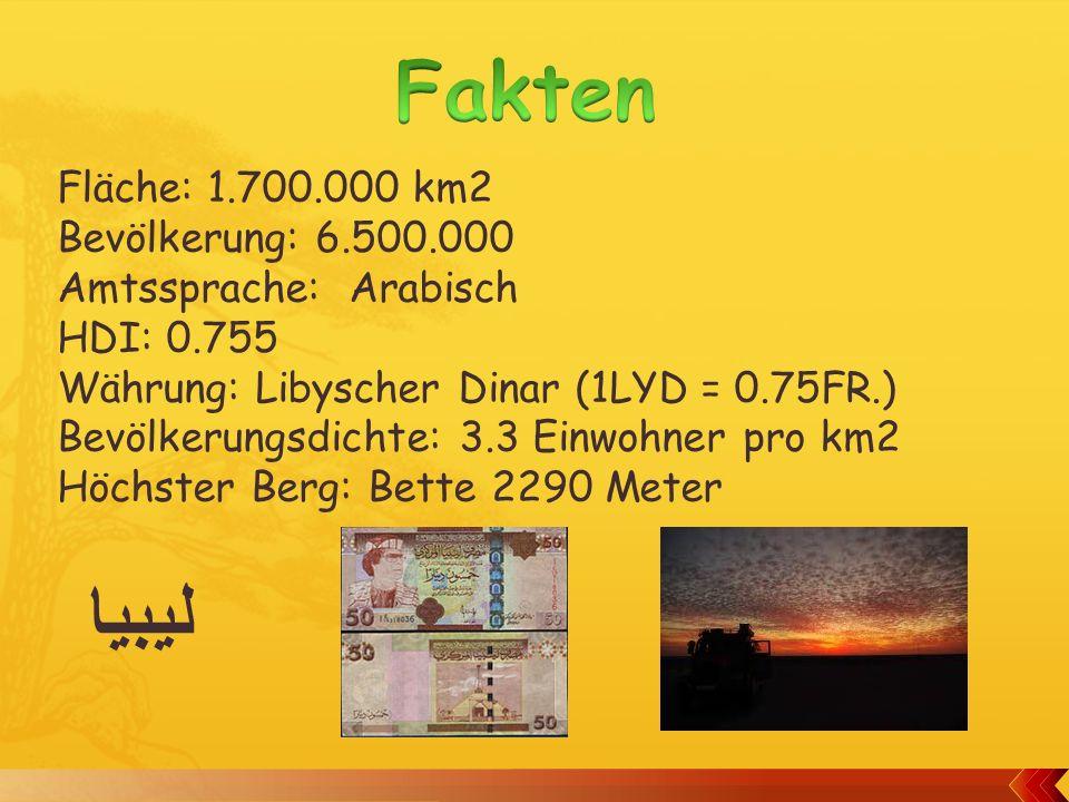 Fakten ليبيا Fläche: 1.700.000 km2 Bevölkerung: 6.500.000