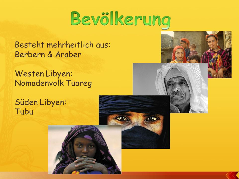 Bevölkerung Besteht mehrheitlich aus: Berbern & Araber Westen Libyen: