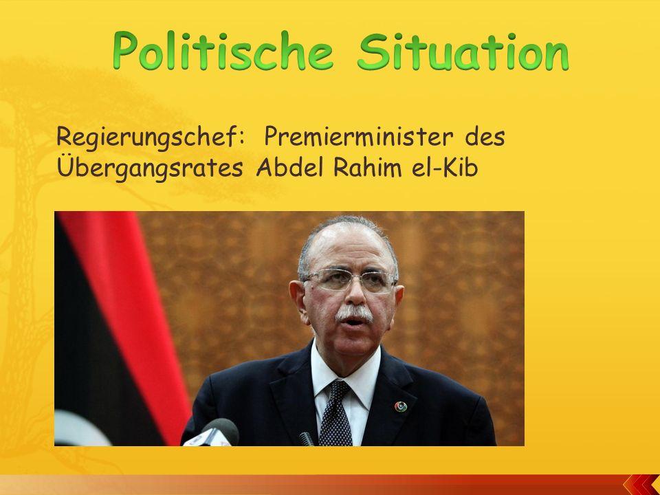 Politische Situation Regierungschef: Premierminister des Übergangsrates Abdel Rahim el-Kib