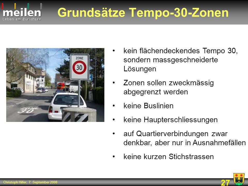 Grundsätze Tempo-30-Zonen